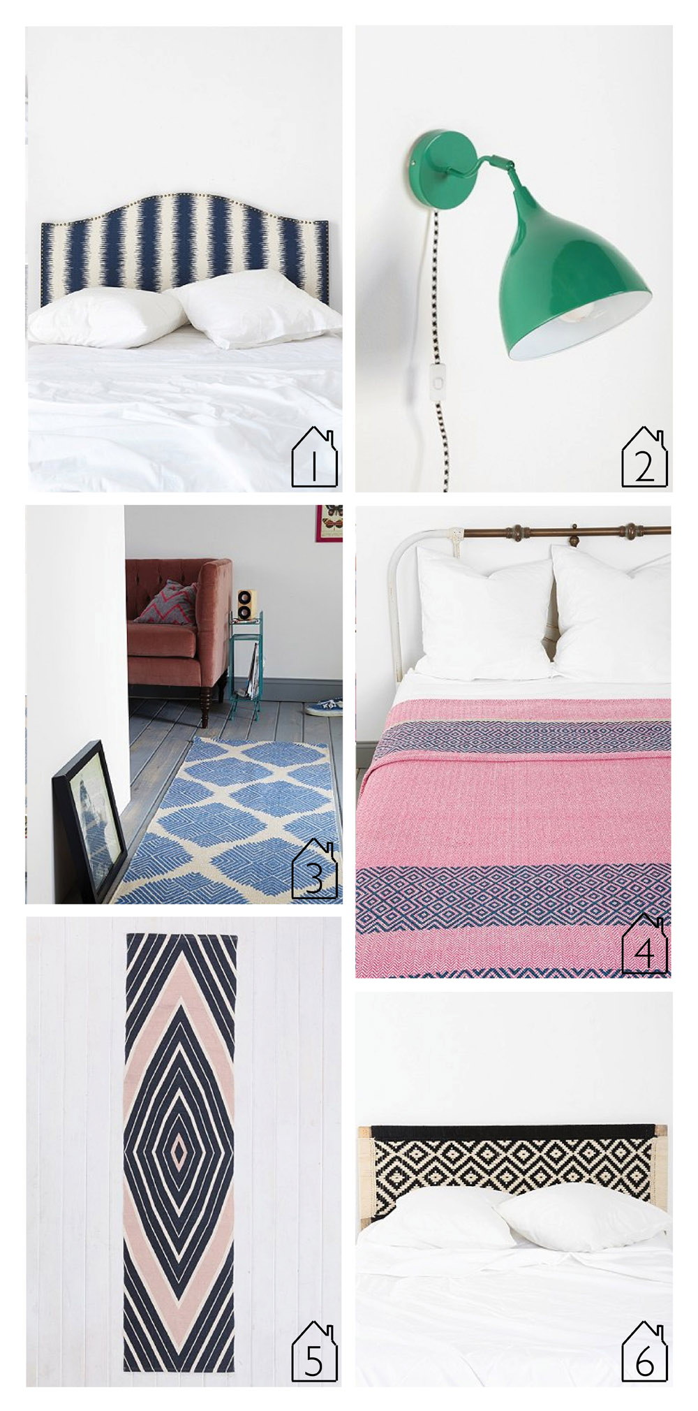 1.  Magical Thinking Nikki Headboard   2.  Industrial Sconce   3.  Magical Thinking Diamond Tile Rug   4.  Magical Thinking Overprint Woven Blanket   5.  4040 Locust Radial Runner   6.  Magical Thinking Diamond Headboard