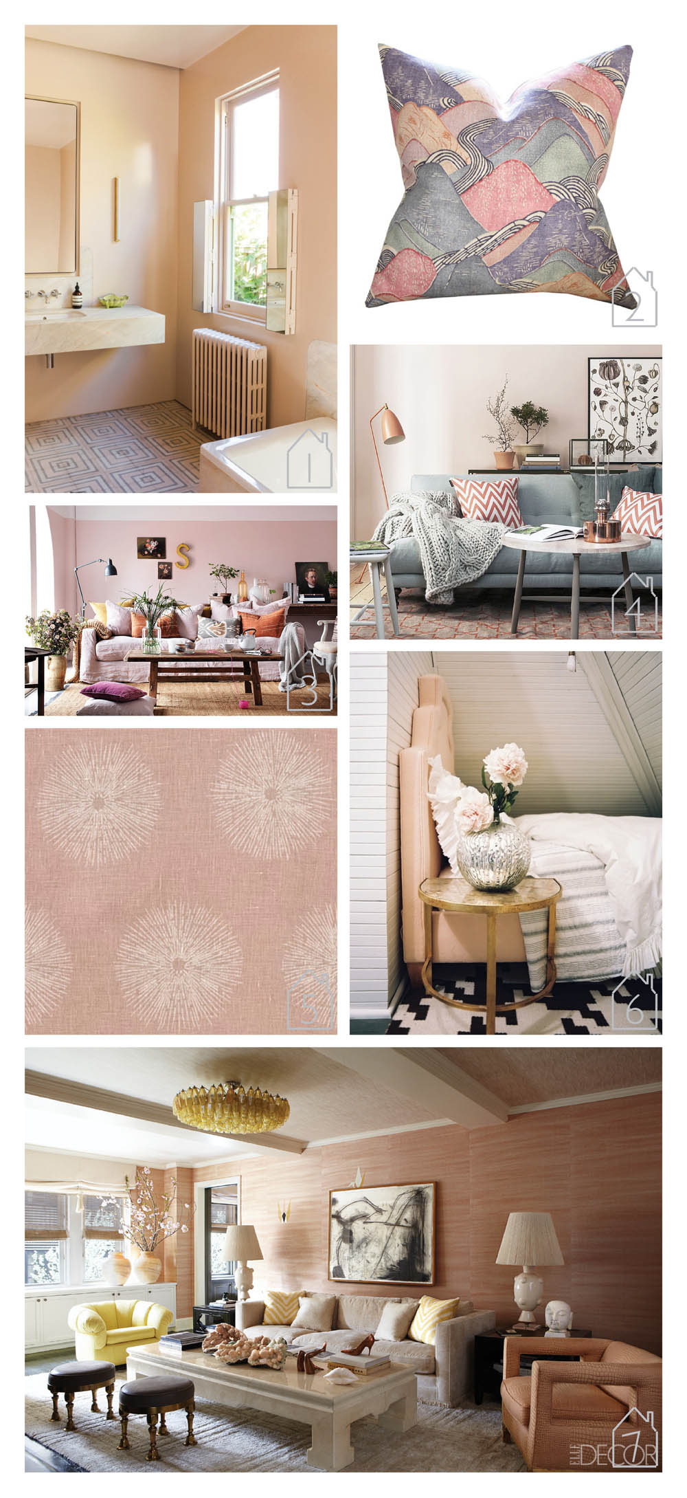 1. Blush bathroom via  Design Files   2.  Kelly Wearstle r edo pillow cover in opal via  Etsy   3. Editorial by  Clive Tompsett   4. Living room via  Solrum   5. Sea Urchin fabric in shell/cream by  Kelly Wearstler  for  Groundworks   6. design by  Lisa Sherry  - photo by Patrick Cline via  Lonny  7. Cameron Diaz's Manhattan apartment designed by  Kelly Wearstler  via  Elle Decor