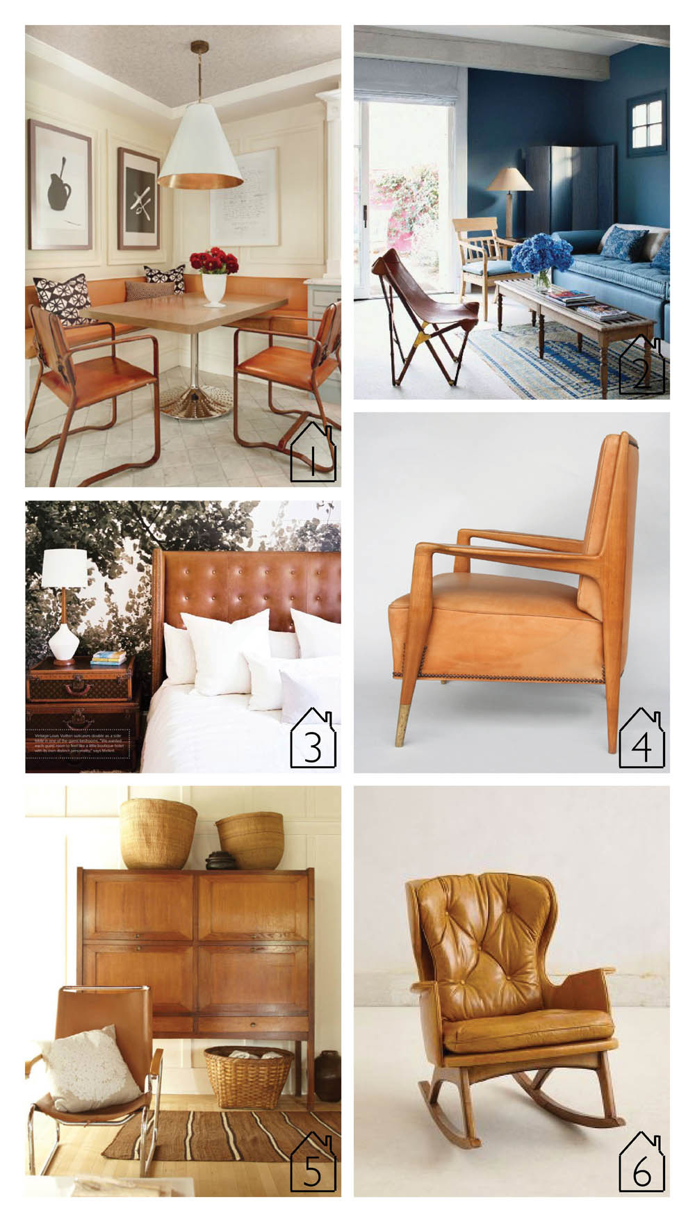 1. via Vintage Luxe  2. source unknown  3. via Lonny  4. via Amsterdam modern armchair  5. via A Note on Design  6. Finn rocker via Anthropologie