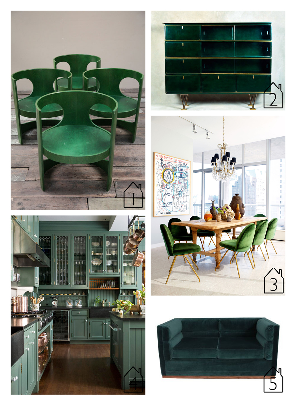 1. Arne Jacobsen's 'pre pop' dining chairs via  Cream & Chrome   2. Dresser designed by Leleu May via  Maison Gard   3. Interior by  4. Kitchen featured in  Better Homes & Gardens   5. Berlin 2 sofa by  Organic Modernism