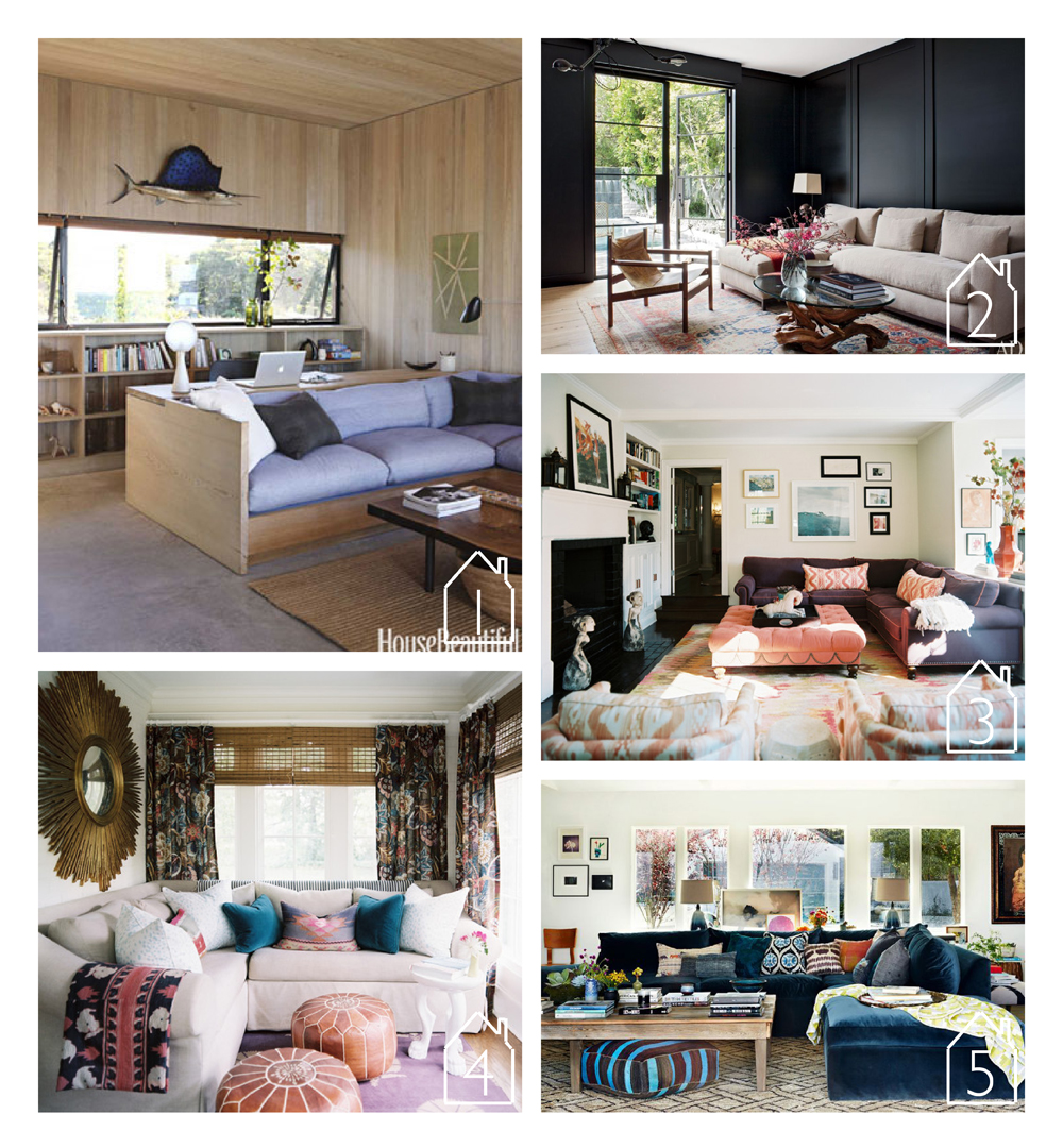 1. via  House Beautiful  design by  Cary Tamarkin   2. via  Architectural Digest  design by  Standard   3. via  Lonny  design by  Hillary Thomas   4. via  Lonny  design by Jamie Meares of  Furbish Studio   5. home of Rachel Bilson design by  Kishani Perera