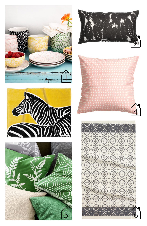 1.  Porcelain dish-ware  2.  linen cushion cover  3.  zebra bath mat  4.  cushion cover  5.  boucle cushion cover  6.  cotton rug