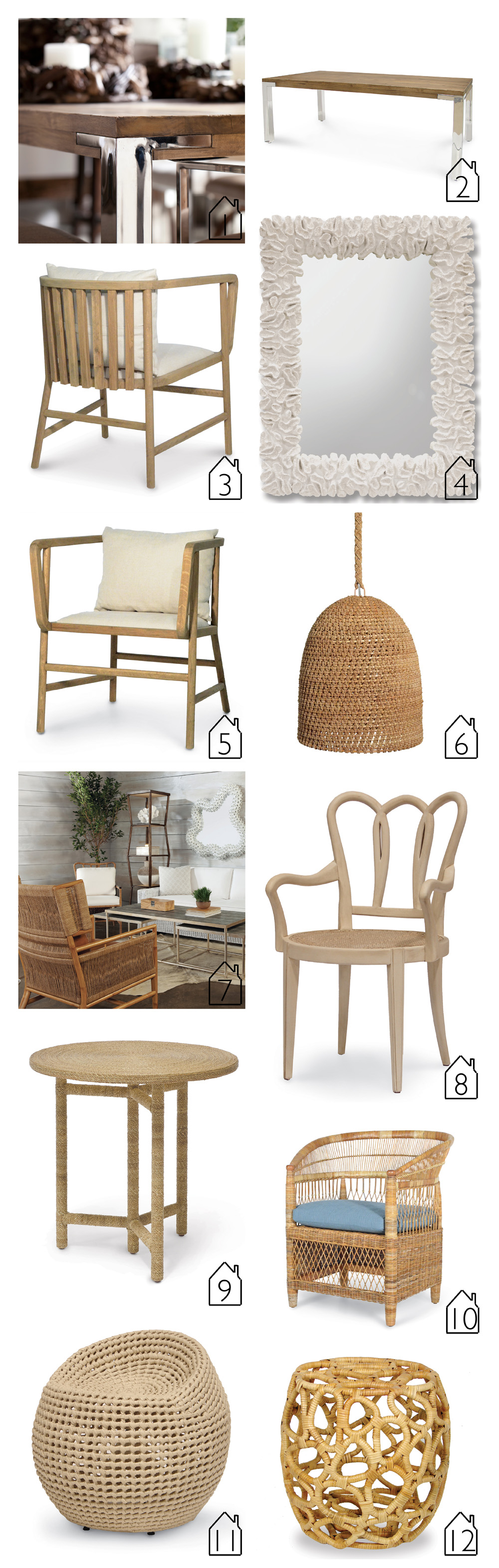 1. Brighton Collection  2. Brighton Collection  3. Dwight Occasional Chair back  4. The Broach Coral Mirror  5. Dwight Occasional Chair front  6. Green Oaks Pendant  7. Owen Chair  8. Leeds Arm Chair  9. Monarch Side Table  10. Malawi Chair  11. Manhattan Ivory Swivel Stool  12. Ella Stool