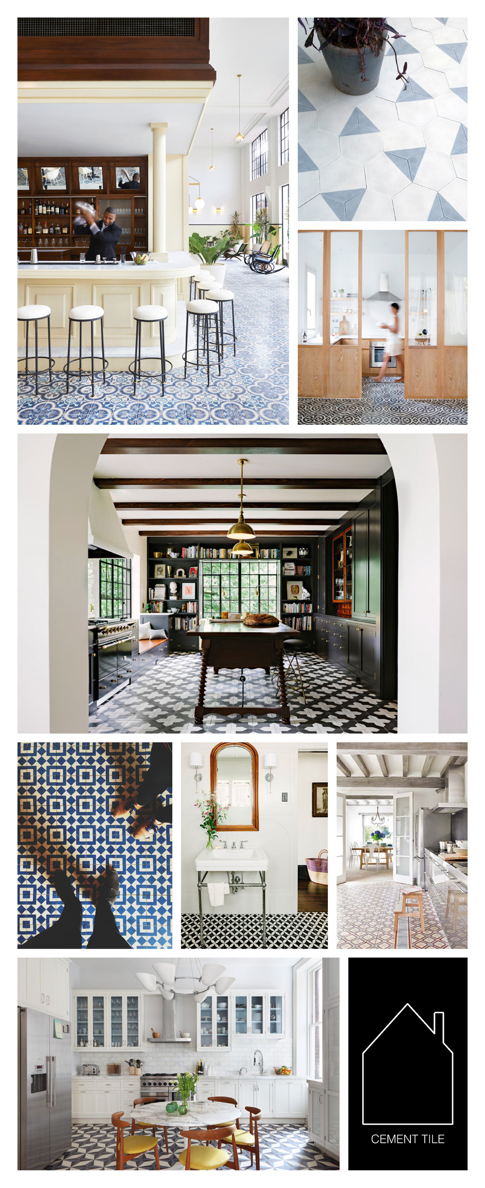 from top left -  Ace Hotel in  Panama City  via  DOMAINE    -  source unknown  -  via  Coco & Kelley   -   Alhambra Kitchen  by  Jessica Helgerson Interior Design   -  via  THE MADE SHOP   -  via  Cement Tile Shop   -  via  Apartment Therapy   -  via  Desire to Inspire  photo by  Alexander James