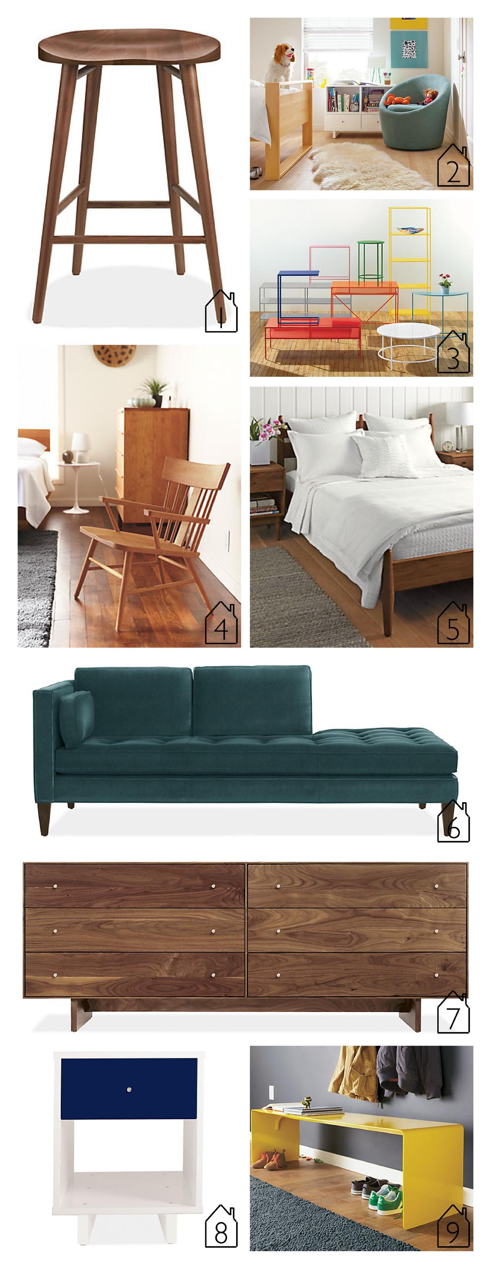1. Bay Counter and Bar Stools  2. Celeste Swivel Chair  3. Slim Tables  4. Sandberg Chair  5. Grove Bed  6. Hutton Sofa  7. Hudson Dresser  8. Moda Nightstand  9. Cooper Bench