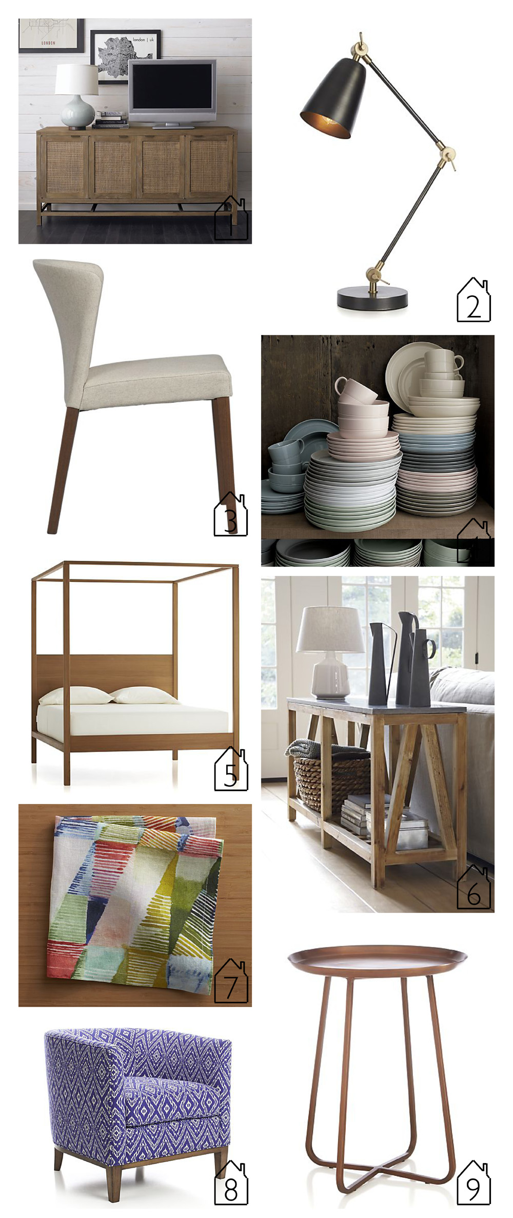 "1.  Blake Grey Wash 68"" Media Console   2.  Cole Task Lamp   3.  Curran Side Chair  4.  Hue Dinnerware   5.  Osborn Four Poster Bed   6.  Bluestone Console Table   7.  Ceres Napkin   8.  Drew Chair   9.  Penelope Accent Table"