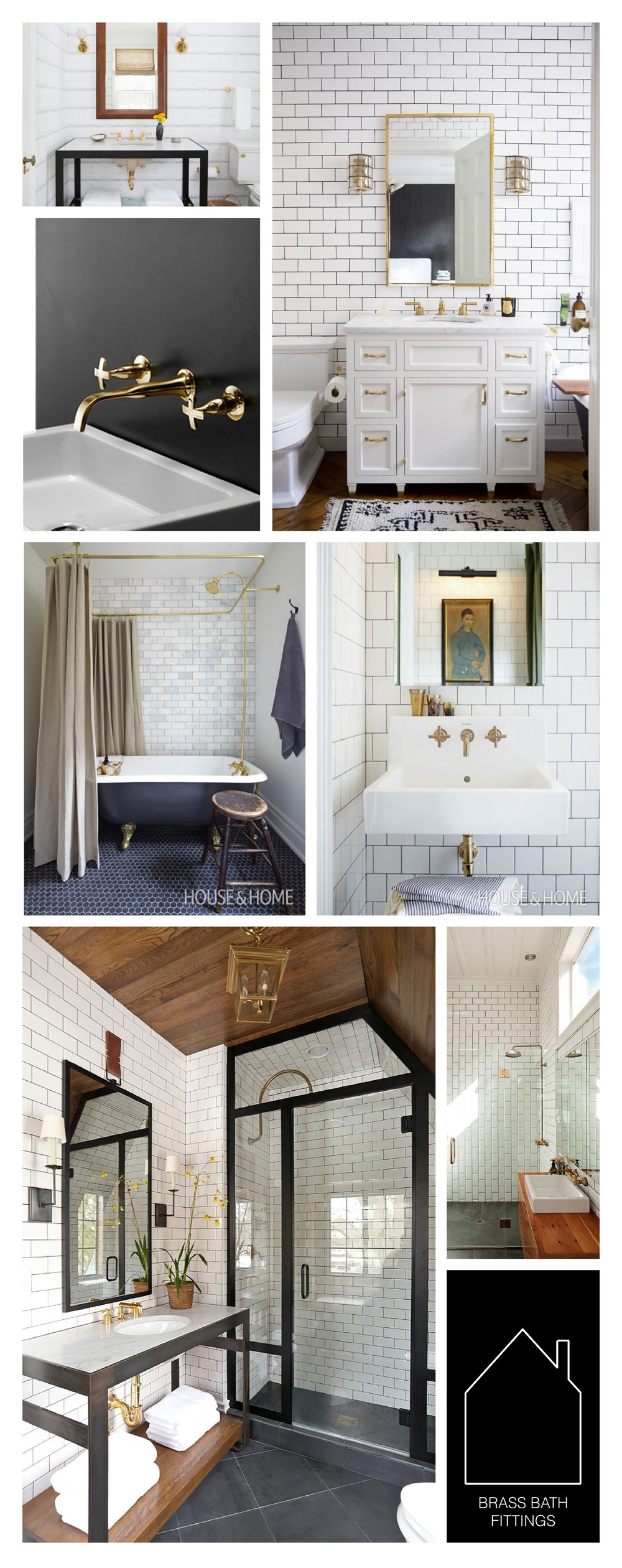 from top left - design by Nate Berkus Team via Domino - home of Ali Cayne via Domino - brass fixture source unknown -  Mandy Milk's bathroom via House & Home - Mandy Milk's bathroom via House & Home - design by Summer Thornton - via Urbis Magazine