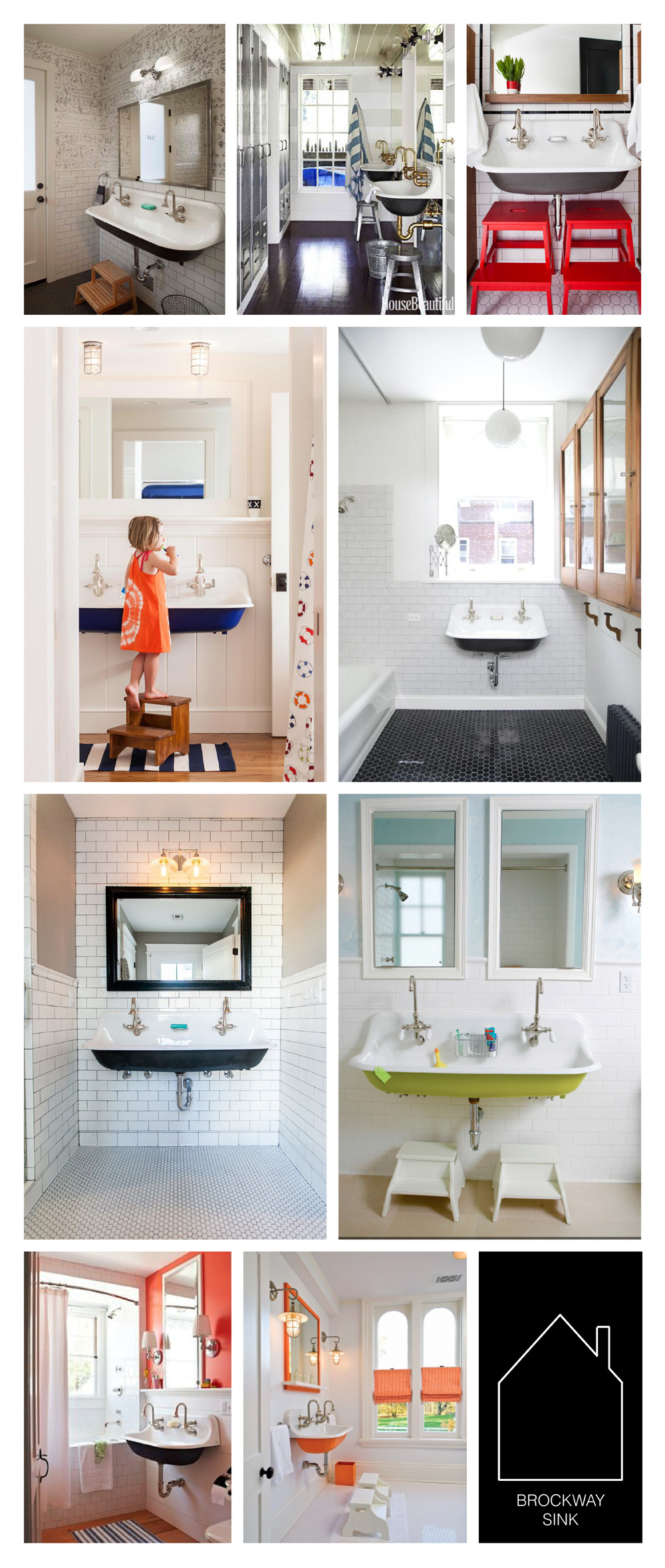 from top left - modern farmhouse by SDG Architects - california beach house via House Beautiful by design by Kim Dempster and Erin Martin - design by Terra Cotta Properties - Bourne home via The Boston Globe - Brooklyn remodel design by Elizabeth Roberts via REMODELISTA - source unknown - source unknown - Bedford home via The Zhush