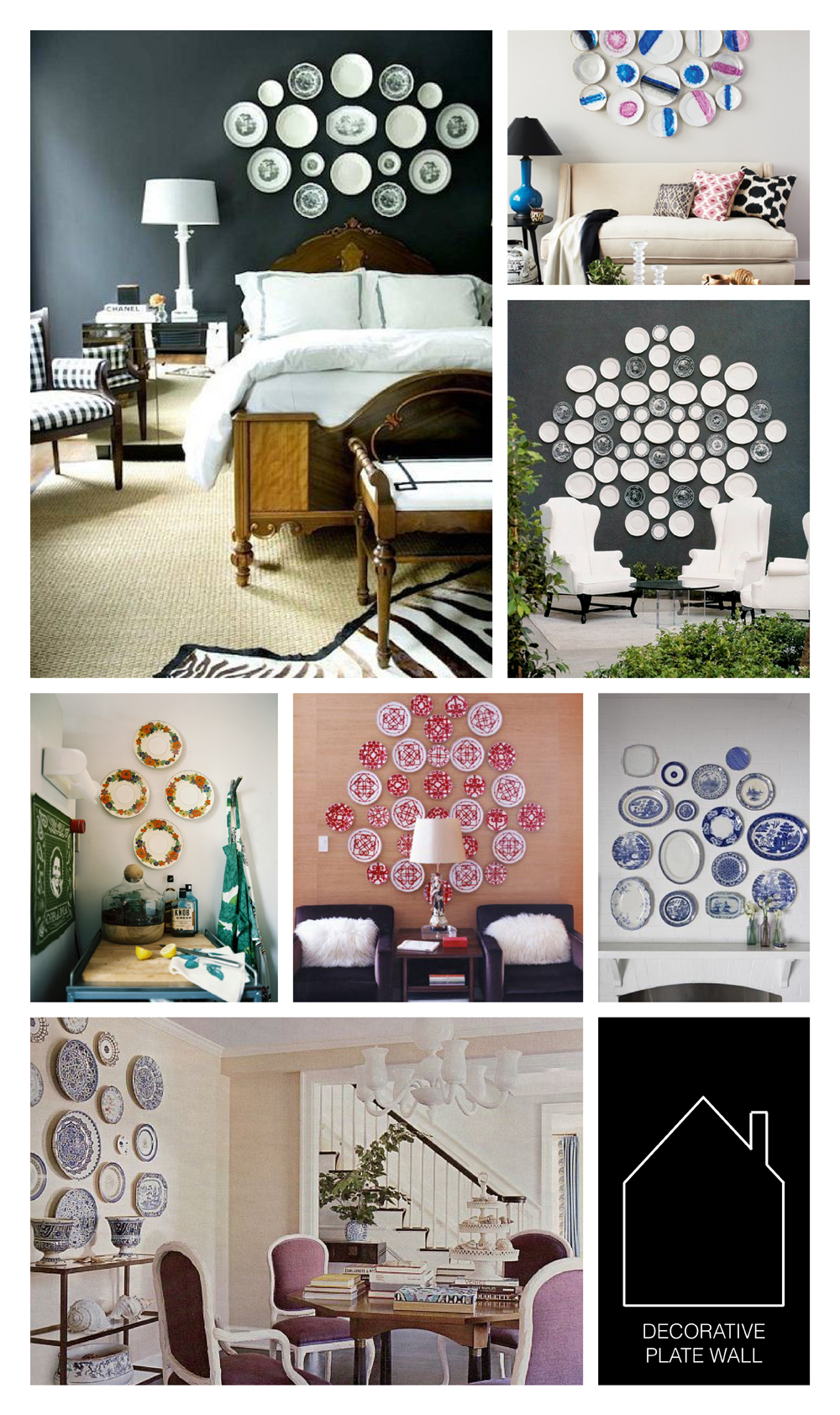 from top left - source unknown - via House & Home - The Viceroy Hotel in Santa Monica - home of Grace Bonney via Lonny - home of Laura Vinroot Poole via Domino - Black & Spiro design via REMODELISTA - via HomeDit