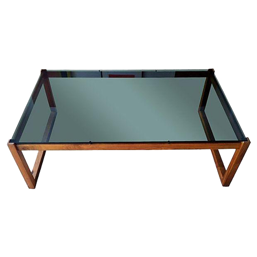 Scandinavian teak and glass table via Chairish