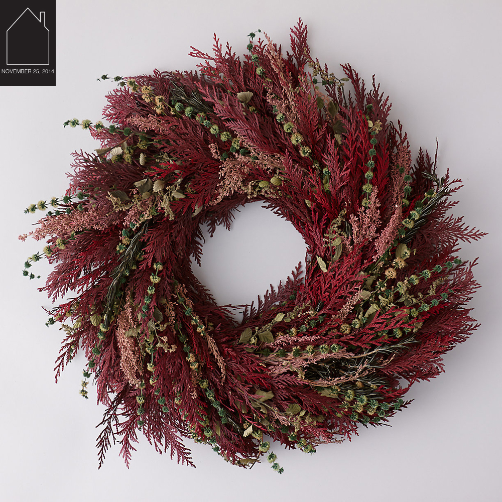 burgundy meadow wreath  by  Terrain