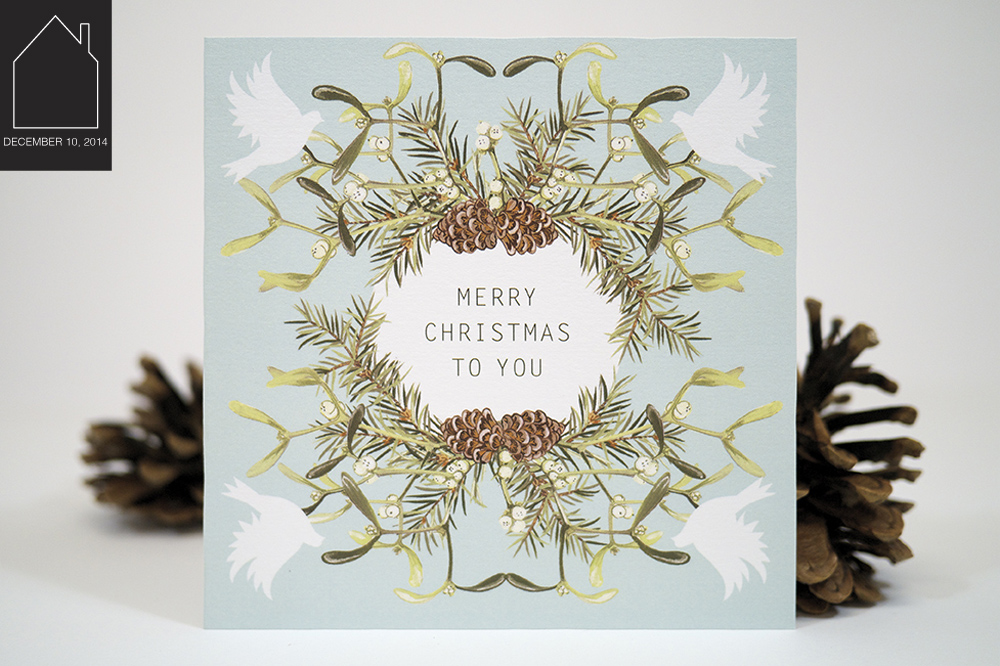Mistletoe & Pine Christmas Card by  Charlotte Day