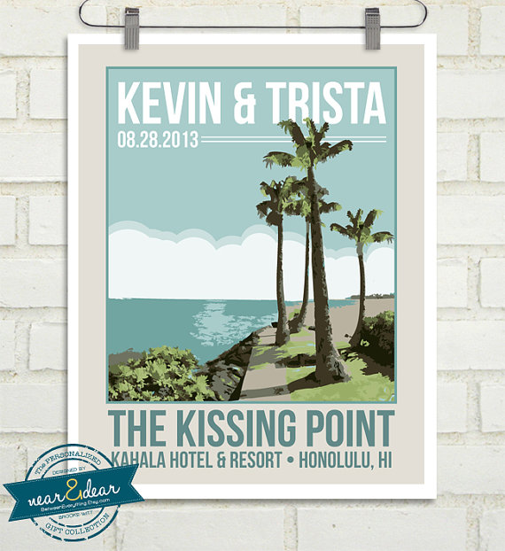Personalized Vintage Inspired Travel Poster by Near and Dear Designs