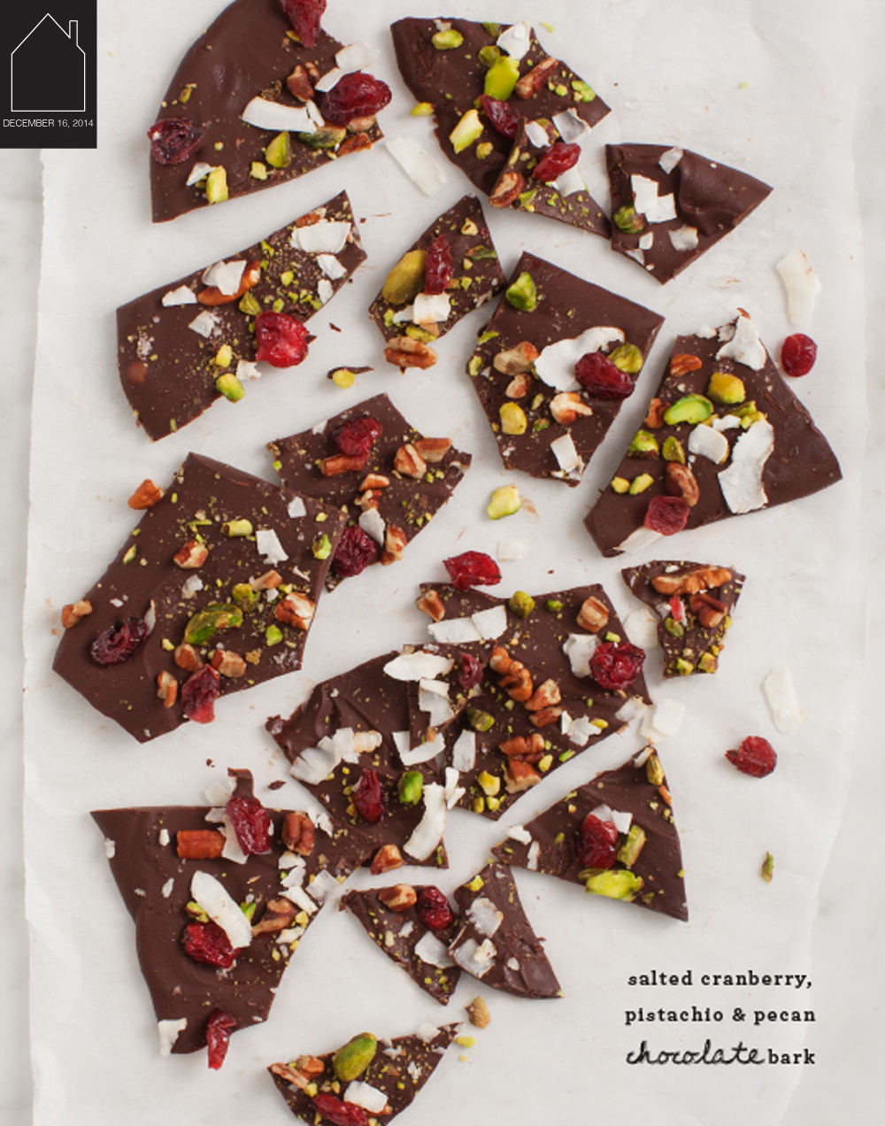 salted cranberry, pistachio & pecan chocolate bark via Love & Lemons