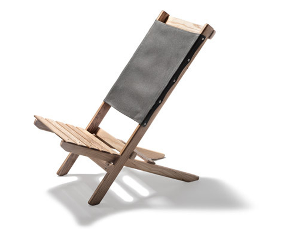 Waxed Canvas & White Ash Travel Chair (slate)