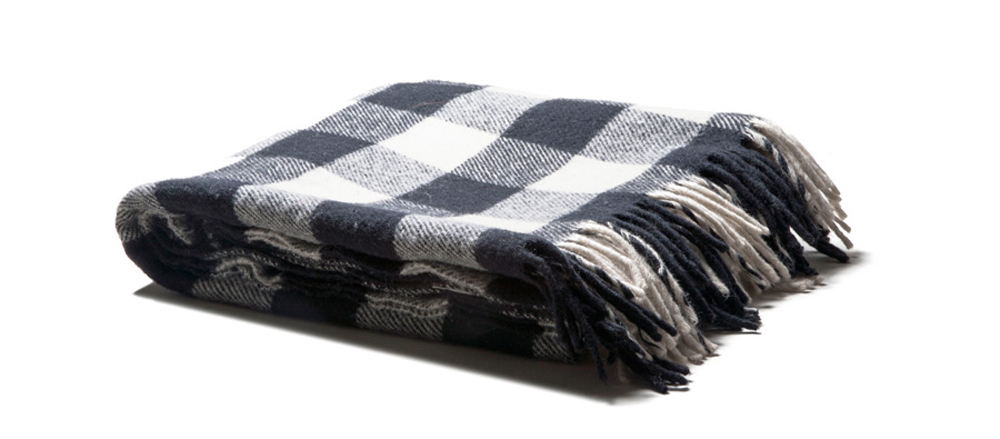 Faribault Buffalo Check Blanket (White)