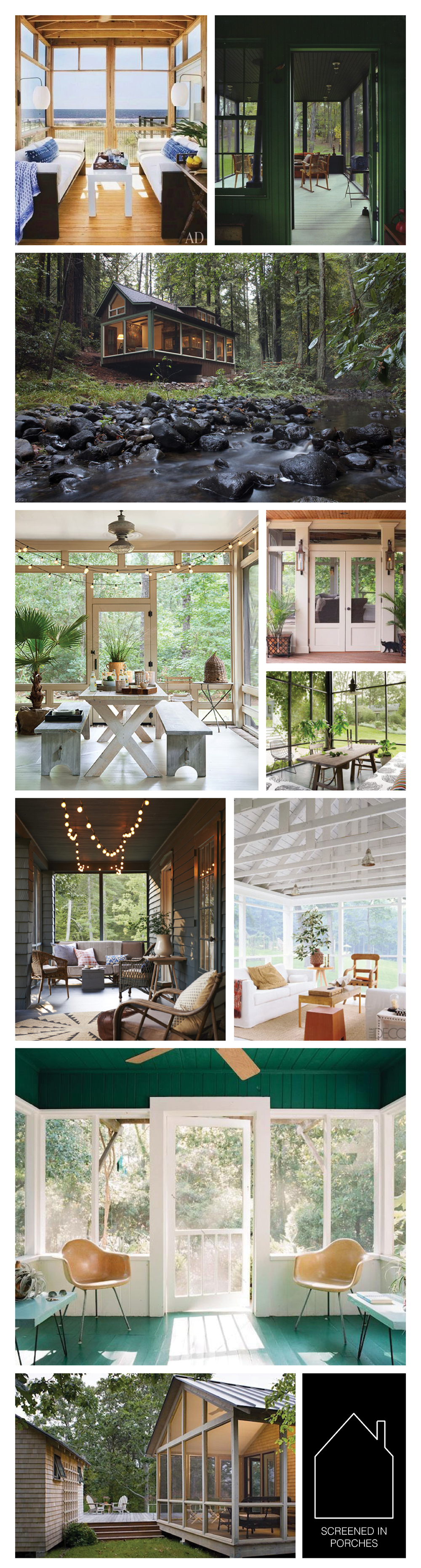 from top left - via Architectural Digest - via REMODELISTA - photo by Amy A. Alper via Off Grid World - via Country Living - double porch in Nashville via Houzz - Susan Hable Smith's Georgian home via Elle Decor - design by Country Living via Jersey Ice Cream Co. - via Elle Decor