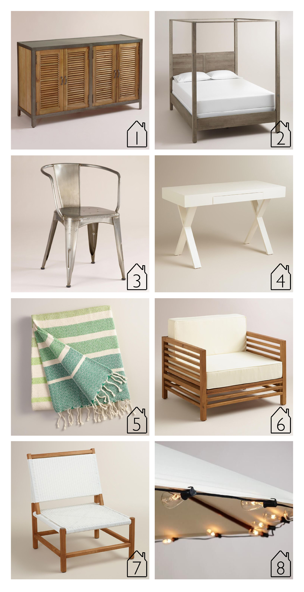 1. Double Shutter Doors Holbrook Sideboard 2. Gray Marlon Canopy Bed  3. Metal Jackson Tub Chair  4. Josephine Desk  5. Oversized Green Ombre Indoor-Outdoor Throw  6. Wood Praiano Outdoor Occasional Chair  7. Wood Sirmione Outdoor Chair  8. Edison Style String Lights