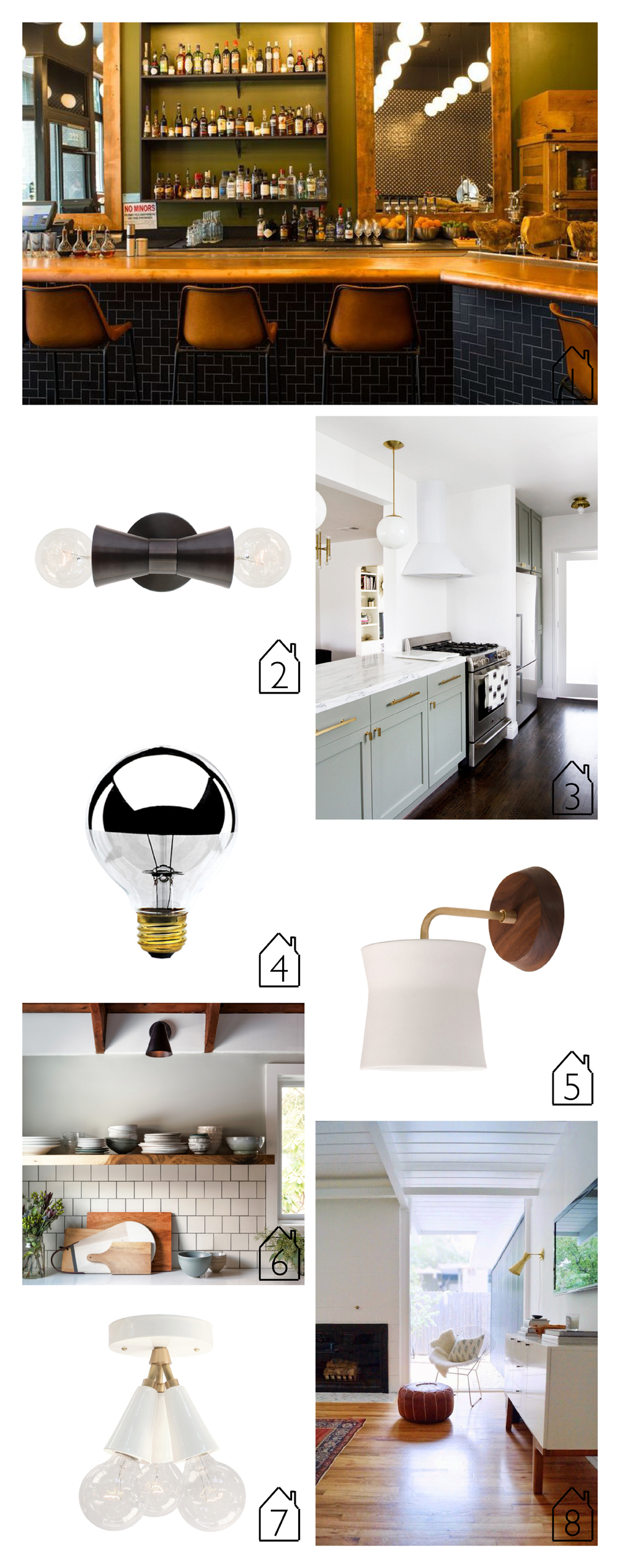 1.  Alto  light in  Oven and Shaker  restaurant via Eater  2.  Mira  light  3.  Smitten Studio  kitchen with  Alto  and  Lucia  light  4.  G25 Silver Bulb   5.  Wyatt Sconce   6.   Tilt Cone  sconce  7.  Spectra  light  8.  Tryon  sconce via  Grey and Scout