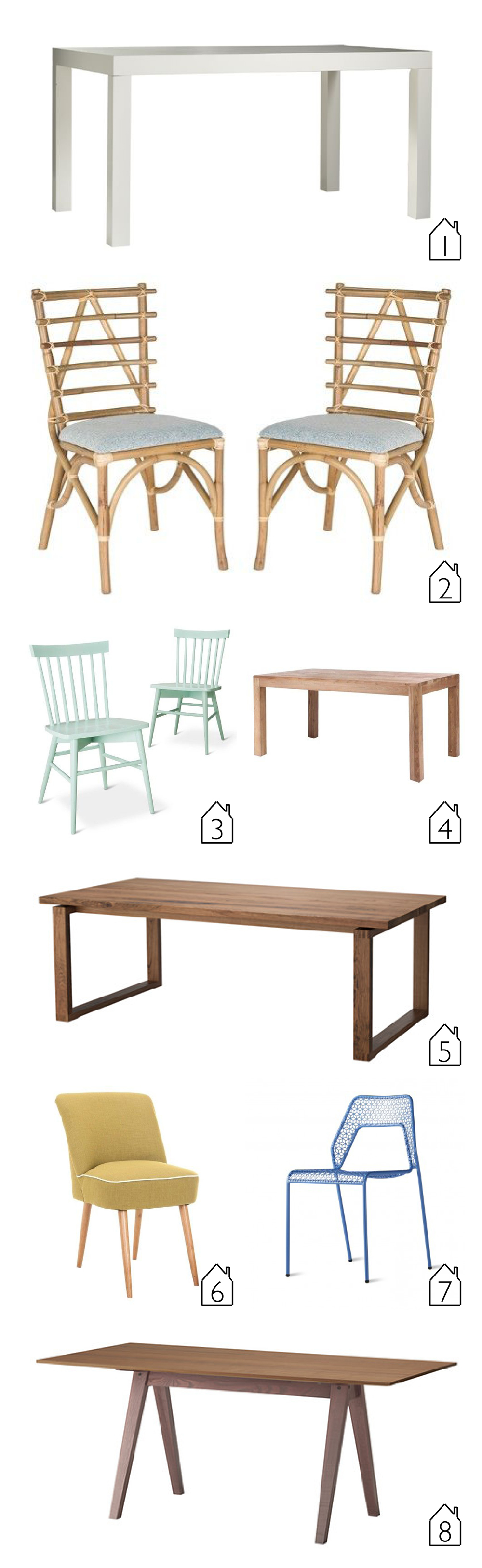1. West Elm Parsons Dining Table  2. Target Safavieh Kennedy Side Chairs  3. Target Threshold Windsor Chair  4. Target Zuo Fillmore Dining Table  5. IKEA Morbylanga Table  6. Target Safavieh Soho Chair  7. Blu Dot Hot Mesh Chair  8. IKEA Stockholm Table