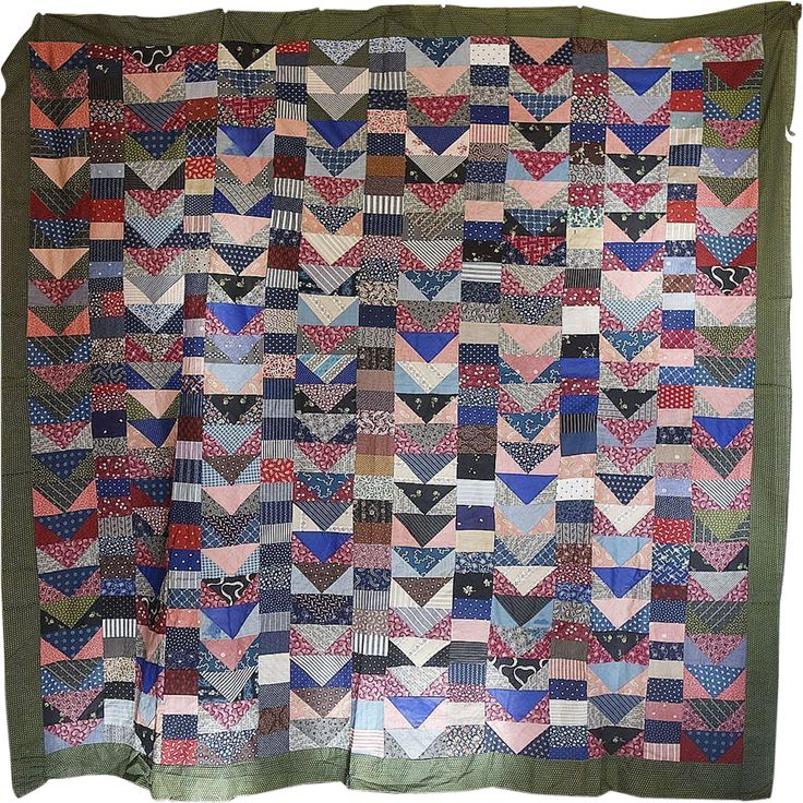 scrap quilt top 1890s flying geese