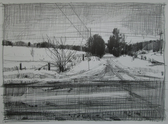 Refuge  - original landscape drawing on paper - Harry Stooshinoff
