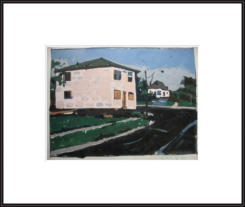 Pink House to Move  - original urban landscape painting on paper - Harry Stooshinoff