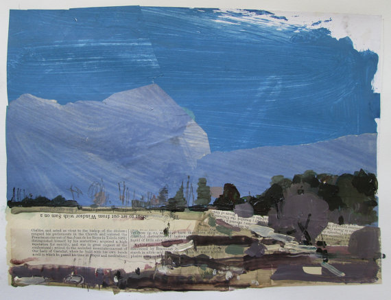 Kestral Place, May 1  - original landscape collage painting on paper - Harry Stooshinoff