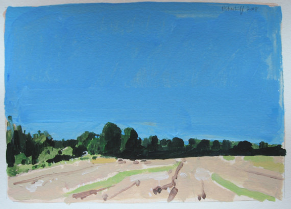 September Field  - original landscape painting on paper - Harry Stooshinoff