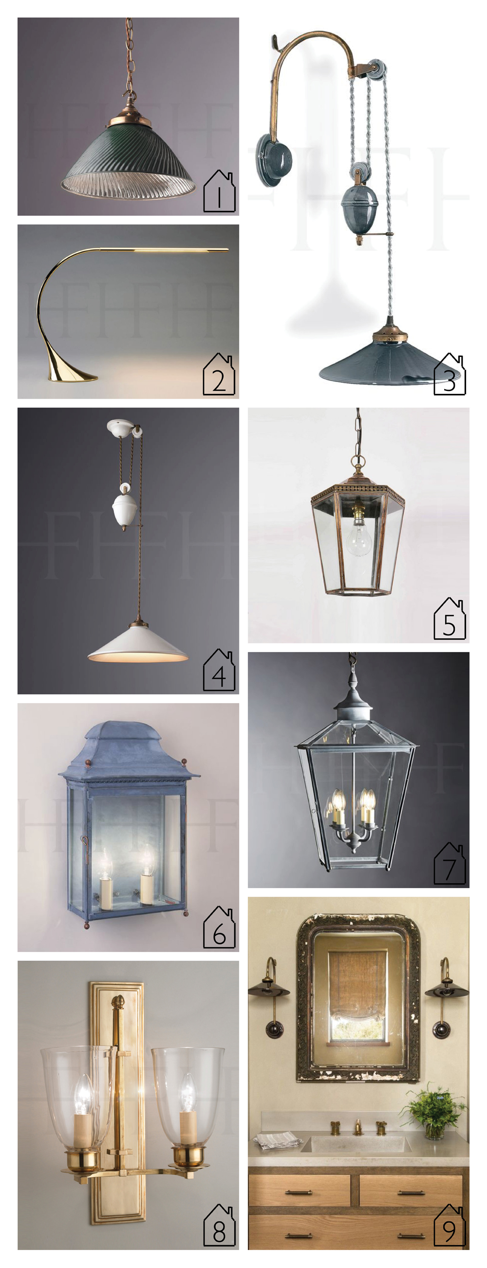 1.  Tiber Pendant, Green   2.  Toled Desk Lamp   3.  French Ceramic Wall Light, Rise and Fall   4.   French Ceramic Rise and Fall, With Weights   5.  Chelsea Pendant, Small   6.  Chantilly Wall Lantern   7.  Sir John Soane Hanging Lantern   8.  Albert Wall Light, Double   9.  French Ceramic Wall Light  - interior by  Jute Design