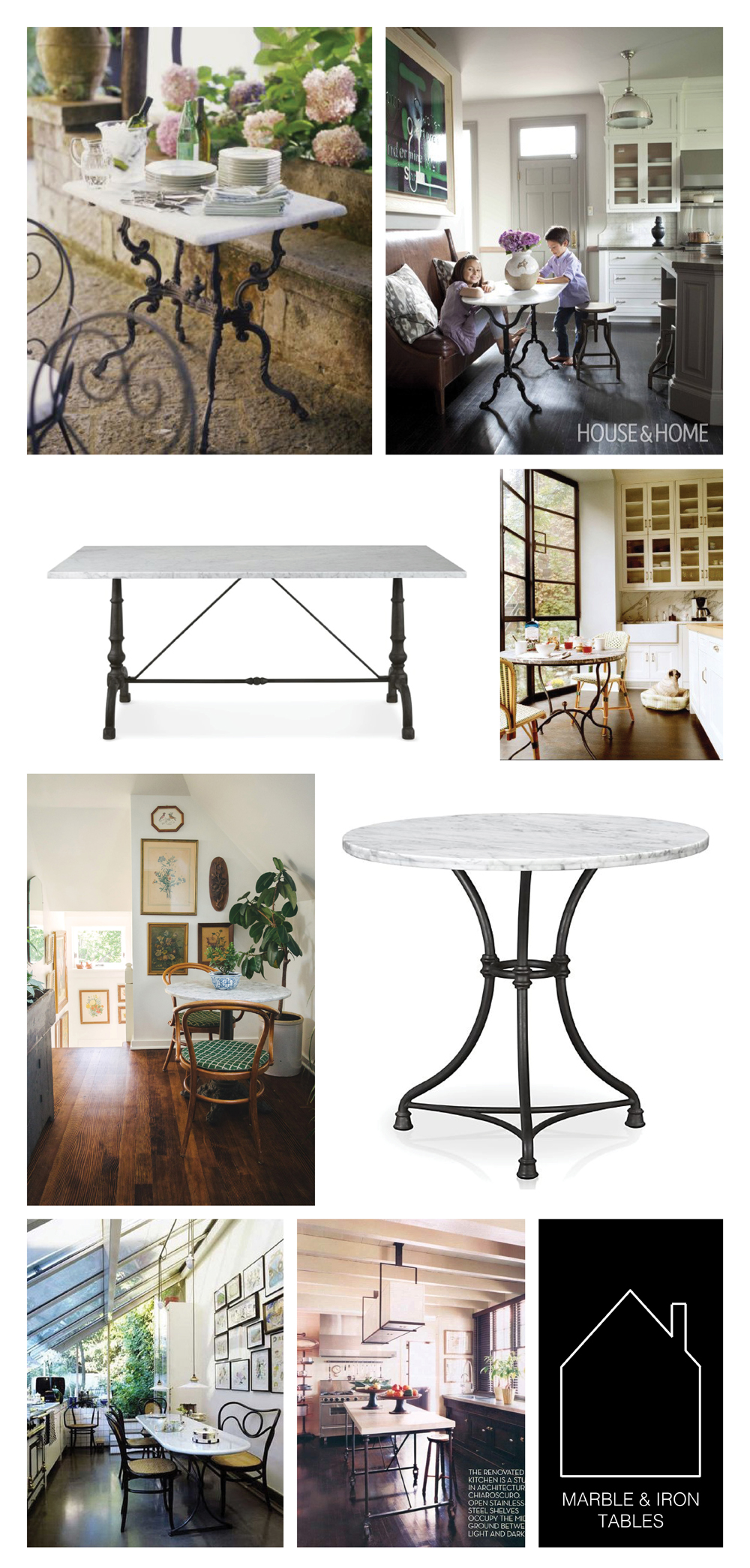 from top left - source unknown - design by  Nam Dang Mitchell  via  House & Home  - La Coupole Iron Bistro Table with Marble Top by  Williams-Sonoma Home  - design by  Nate Berkus  via  The Kitchn  - via  Homestead Seattle  - French Kitchen Bistro Table by  Crate & Barrel  - via  Desire To Inspire  - source unknown