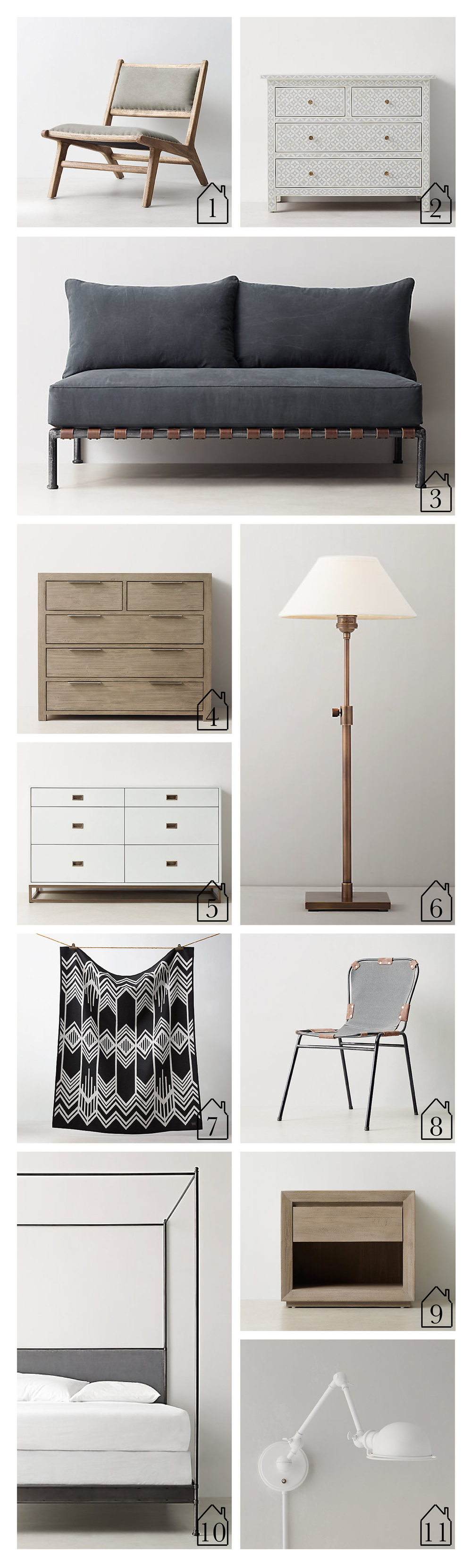 1.  Cantor Lounge Chair   2.  Salma Mosaic Dresser   3.  Flynn Loveseat Dark Steel   4.  Laguna Dresser   5.  Avalon Wide Dresser   6.  Barrett Telescoping Table Lamp Antique Brass   7.  Pendleton Skywalkers Blanket   8.  Cato Desk Chair   9.  Callum Nightstand   10.  Caleigh Iron Canopy Bed   11.  Academy Swing Task Swing Arm Sconce