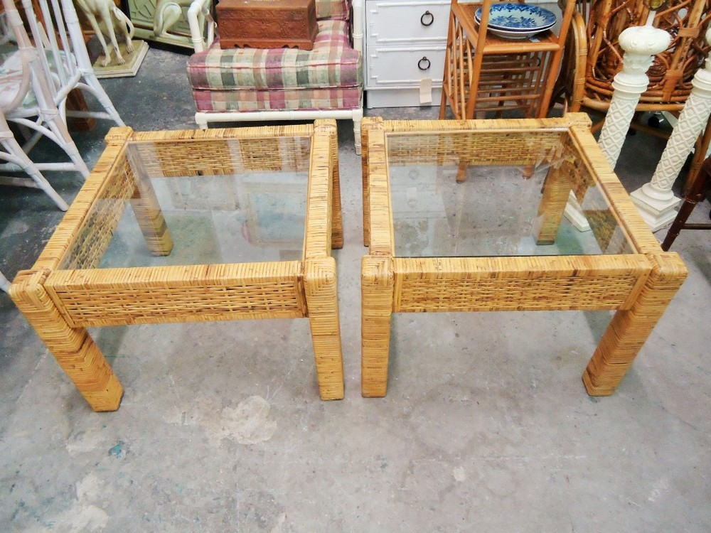 Pair of Island Style Wrapped Side Tables  via Palm Beach Regency