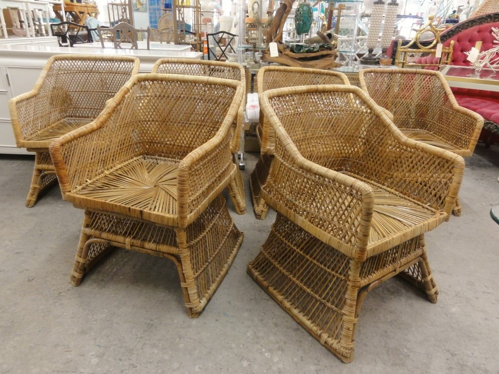 Set of 6 Vintage Island Style Rattan Chairs  via Palm Beach Regency