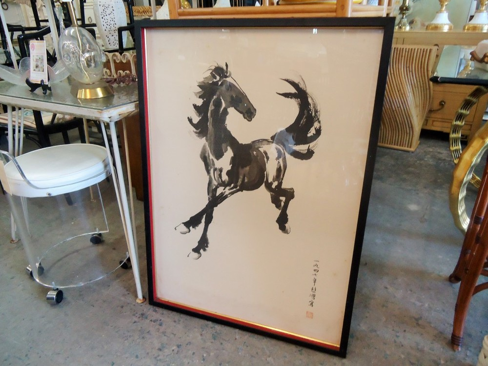 Japanese Equestrian Horse Ink Painting via Palm Regency