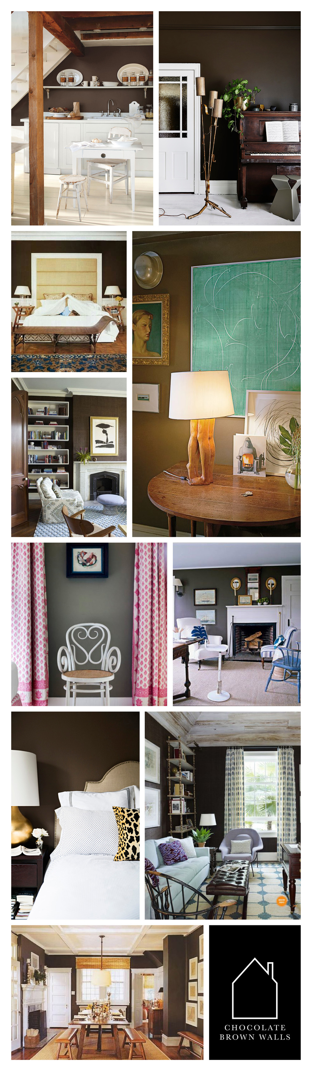 from top left - via  Country Living  - via  The Design Chaser  - bedroom designed by  Tom Scheerer  - entry in home of  Tom Scheerer  - living room designed by  Tom Scheerer  - chair with pink curtains in room designed by Tom Scheerer - hearth room designed by Tom Scheerer - home of Paloma Contreras via  La Dolce Vita  - office designed by  Tom Scheerer  - dining room designed by Tom  Scheerer