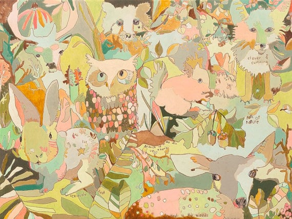 "Jennifer Mercede - Woodland Sweeties - Canvas Print - 14"" x 10"""