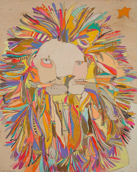 "Jennifer Mercede - Lion Star - Canvas Print - 30"" x 24"""