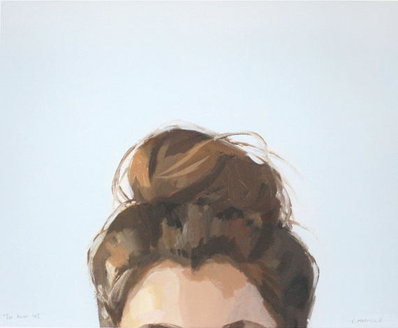"Elizabeth Mayville - 8"" x 10"" hair art - bun print - ""top knot 45"""