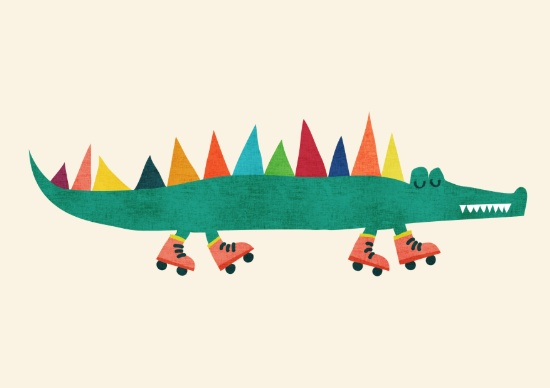crocodile on roller skates