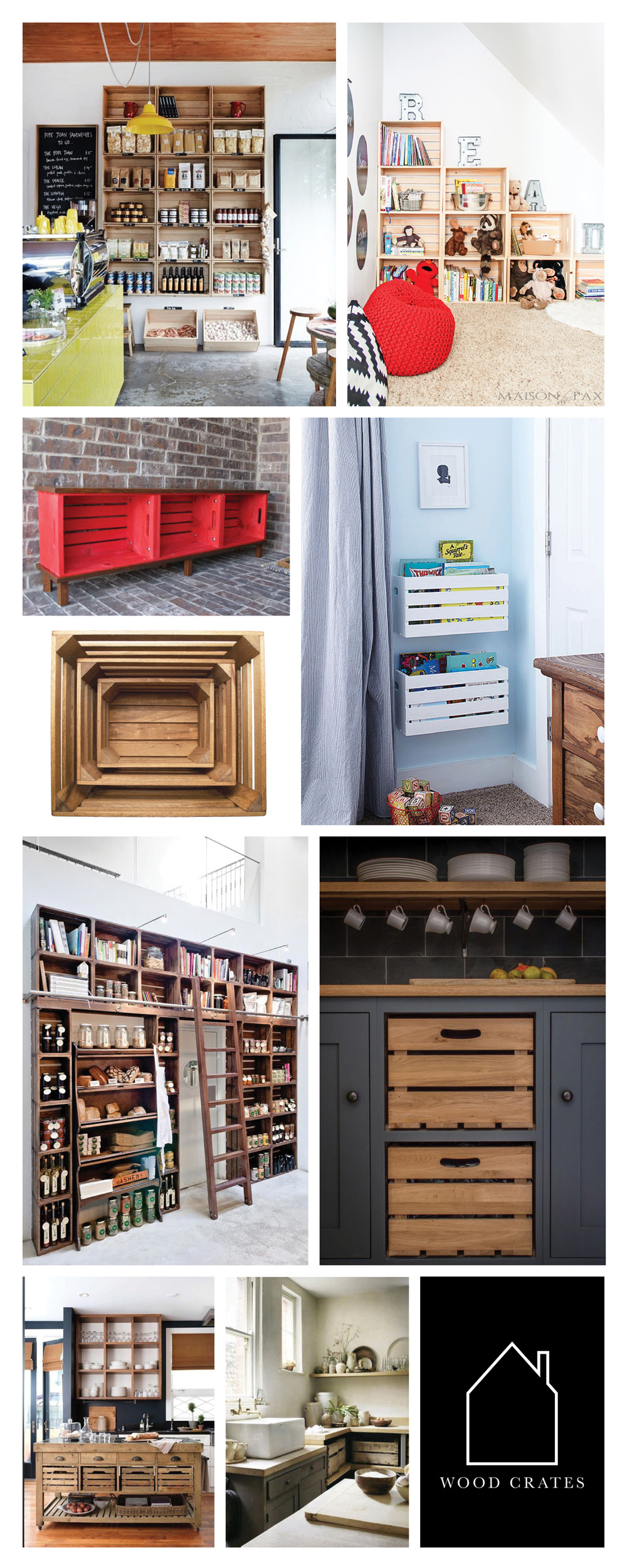 from top left  -  Hams and Bacon  via  Designed for Life  - via  Maison de Pax  - via  Hometalk  - via  BHG  - wooden crates via  Kaufmann Mercantile  - source unknown - Cotswold Chapel Kitchen via  Sustainable Kitchens  -  via  Apartment Therapy  - via  Vakre Hjem & Interior