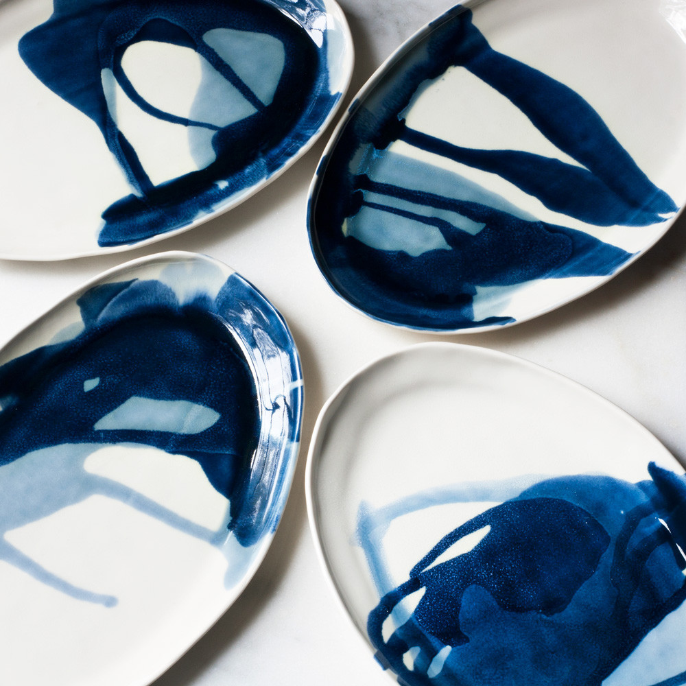 ellipse platter in watercolor blues