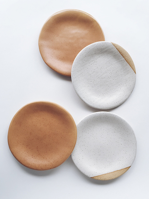 sylvan dessert plates in speckled tan