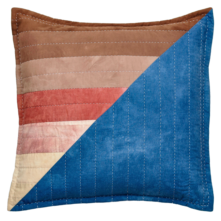 indigo, madder & catechu quilted pillow by EB Quilts | THE PLACE HOME