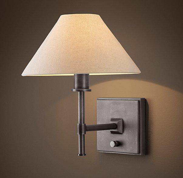 petite candlestick sconce with linen shade  by RH | THE PLACE HOME