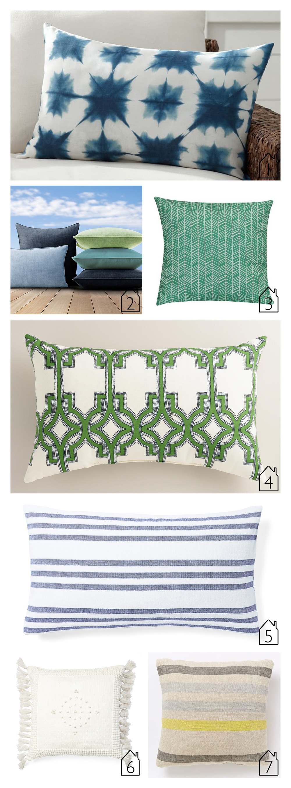 1.  zuma starburst indoor/outdoor lumbar pillow  by Pottery Barn  2.  perennials textured linen weave pillow cover  by RH  3.  teal herringbone outdoor pillow  by Target  4.  green alonso geo outdoor lumbar pillow  by World Market  5.  pinstripe fouta pillow cover  by Serena & Lily  6.  montecito outdoor pillow cover  by Serena & Lily  7.  indoor/outdoor prep stripe pillow - frost gray  by West Elm | THE PLACE HOME