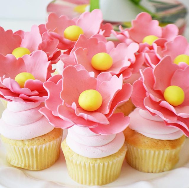 Fabulous over sized flower cupcakes. #cupcakes #flowercupcakes #pink #sweet #foodphotography #bridalshower #weddingcupcakes