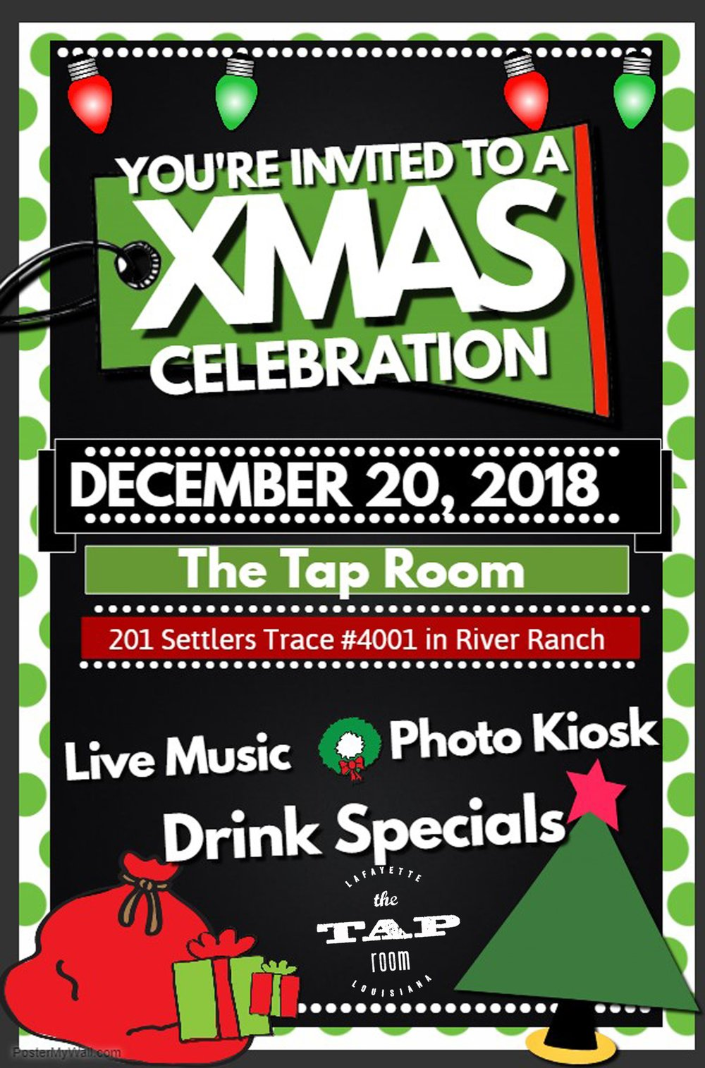 Let's raise a glass of holiday cheer, We want to see you in your best (or worst) holiday gear!  Whether you've been naughty or nice, don't think twice.... Join us on Thursday, December 20 from 8-11pm for live music, drink specials and an  Ohh Snap Booth - Photo Booth Company  photo kiosk!