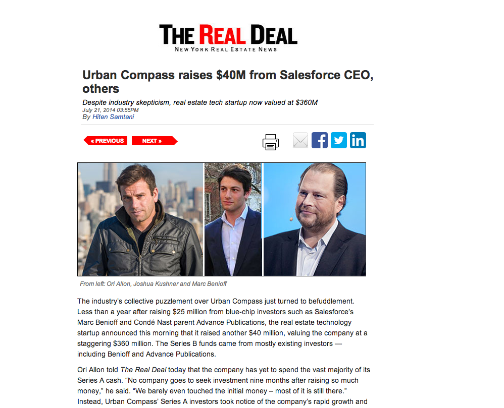 http://therealdeal.com/blog/2014/07/21/urban-compass-raises-40m-from-salesforce-ceo-others/