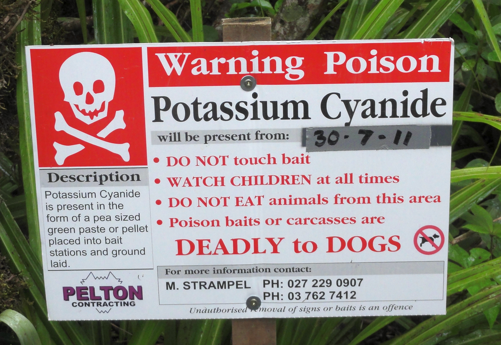The New Zealand Government sprays Cyanide pellets out of aircraft to control Possums...